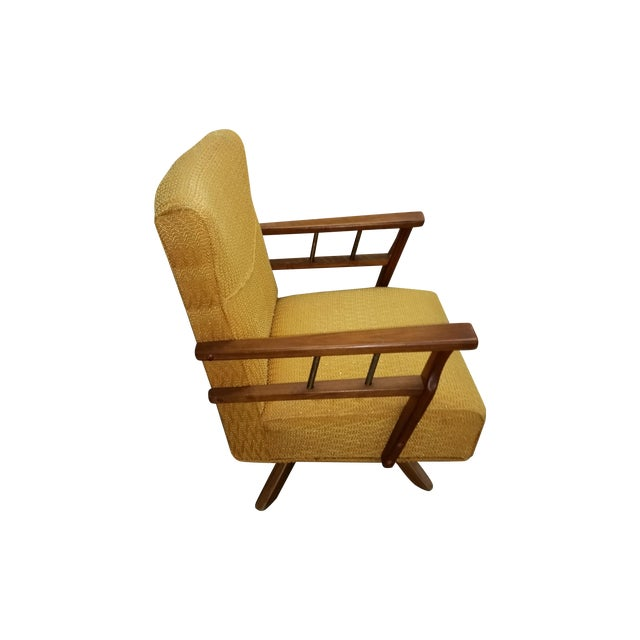 Mcm Gold Chenille And Wood Swivel Lounge Chair Chairish