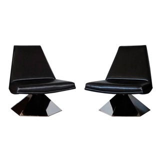 Monumental 1970s Chrome Lounge Chairs - A Pair