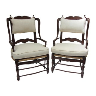 Large Ladder Back Wing Chairs - Pair