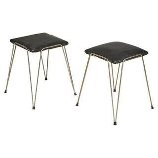 Vintage 1960s Silver Hairpin-Style Stools - A Pair