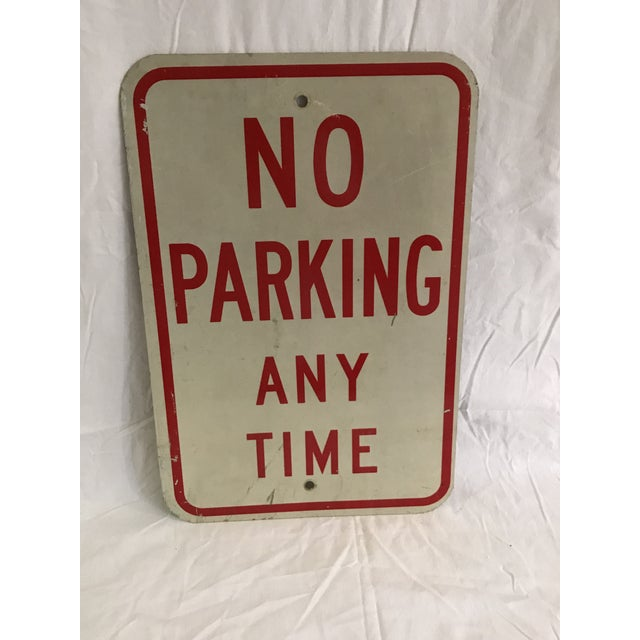 Vintage No Parking Any Time Metal Road Sign - Image 2 of 5