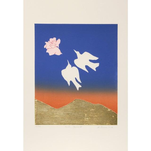 "Image of Mireille Kramer, ""Birds,"" Flowers IV, Etching"