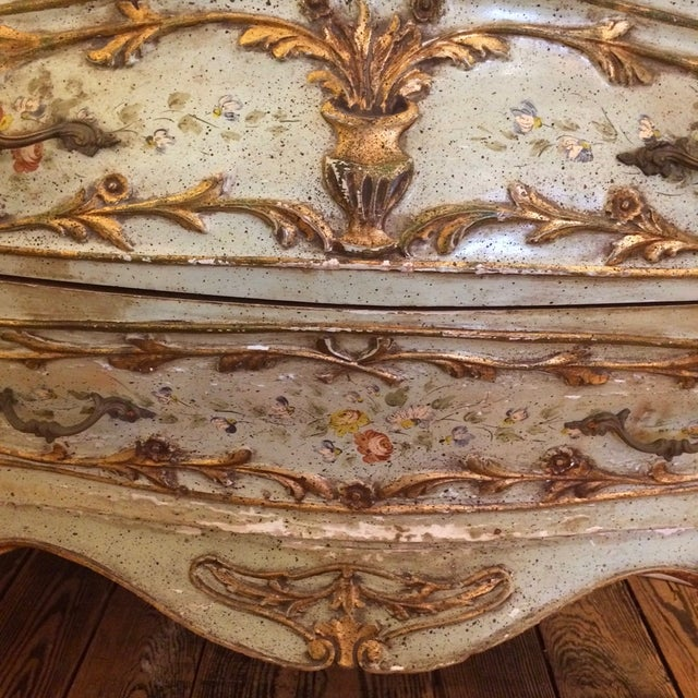 French Rococo Painted & Parcel Gilt Commode - Image 2 of 10