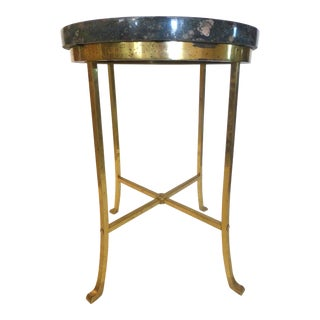 Vintage Marble and Brass Accent Table