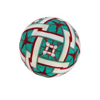 Temari Ball Ornament - Teal, Burgundy & White
