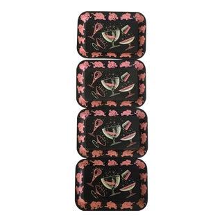 Dancing Pink Elephant Trays - Set of 4