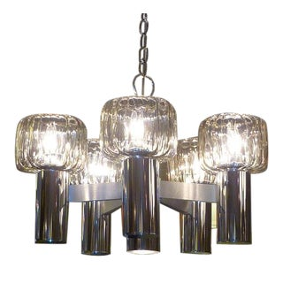 Exciting Five Globe Nickel Lightolier Mid Century Chandelier