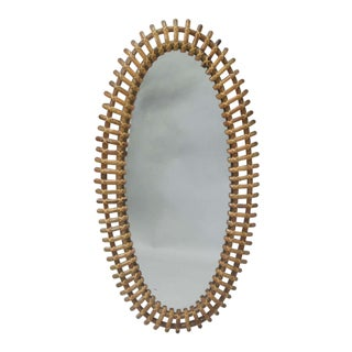 Large Italian Rattan Mirror Attributed to Franco Albini