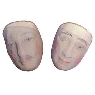 Early 1900's French Pantomime Masks - Pair
