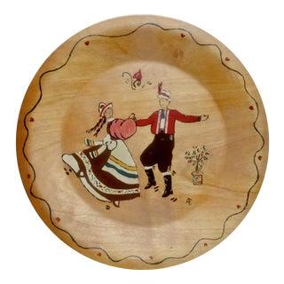 Mid-Century Scandinavian Rosemaling Wood Plate