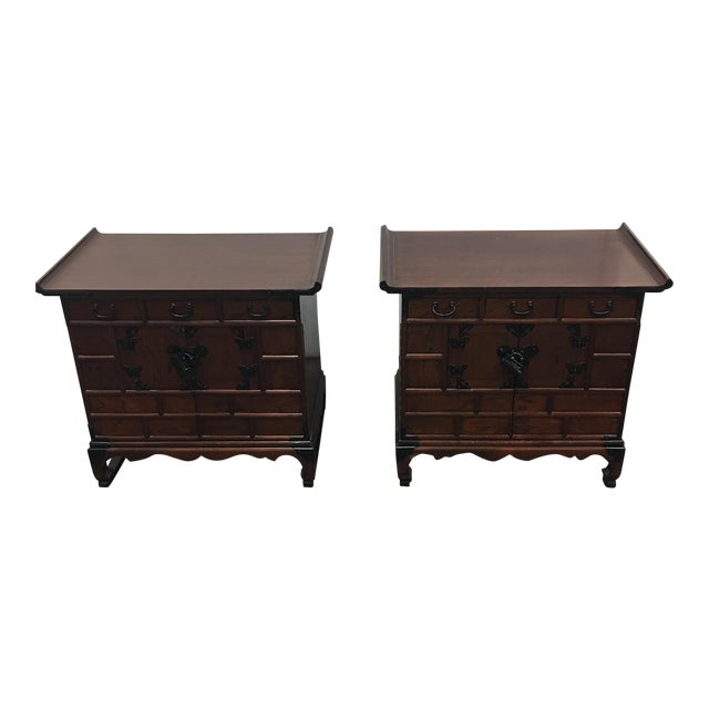 Asian Side Tables or Nightstands- A Pair - Image 1 of 9