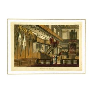 Antique Engraving, Whitehall Chapel Circa 1811