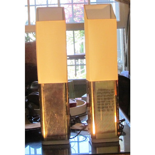 1970s Gold Lame Lamps - A Pair - Image 2 of 7