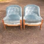 Image of Woodmark Originals Blue Velvet Slipper Chairs - A Pair