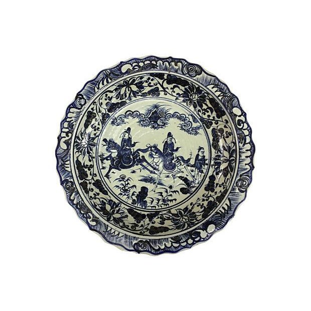 Oversize Blue & White Chinese Warrior Bowl - Image 1 of 5