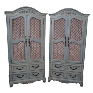 Vintage French Louis XV Painted Armoires - Pair