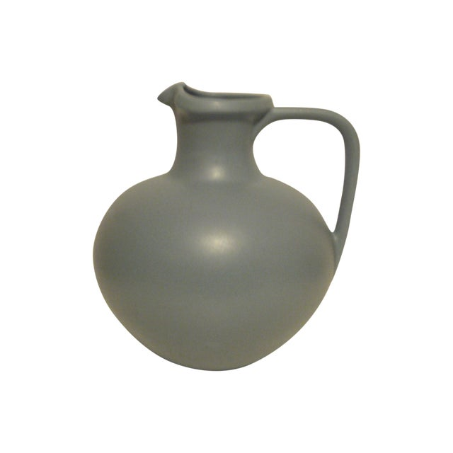 Large Art Pottery Blue Pitcher - Image 1 of 6