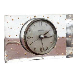 Mid-Century Modern Seth Thomas Lucite Gold Bubbles Clock