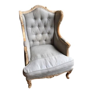 Anthropologie Gray Wingback Chair