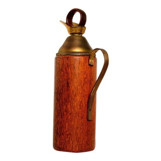 Aldo Tura Teak and Brass Pitcher
