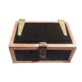 Vintage Brass & Copper Edged Metal Box
