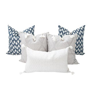 Indigo Blue and Gray Handwoven Mayan Pillows - Set of 5