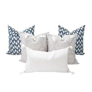 Indigo Blue and Gray Handwoven Mayan Pillows - Set of 5