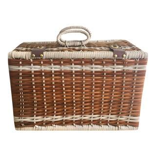 Vintage Vinyl Woven Picnic Basket