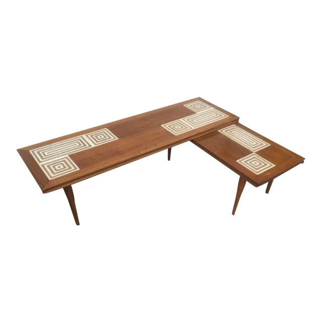 mid century tile top l shaped coffee table chairish. Black Bedroom Furniture Sets. Home Design Ideas