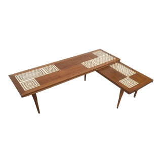 Mid-Century Tile Top L Shaped Coffee Table