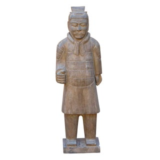 Chinese Stone Small Ancient Soldier Warrior Decor Figure