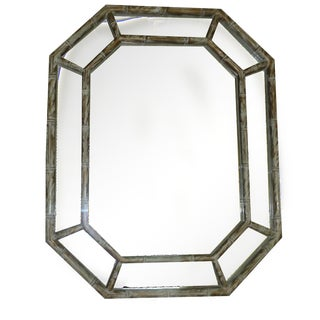 Hollywood Regency Octagonal Faux Bamboo Mirror
