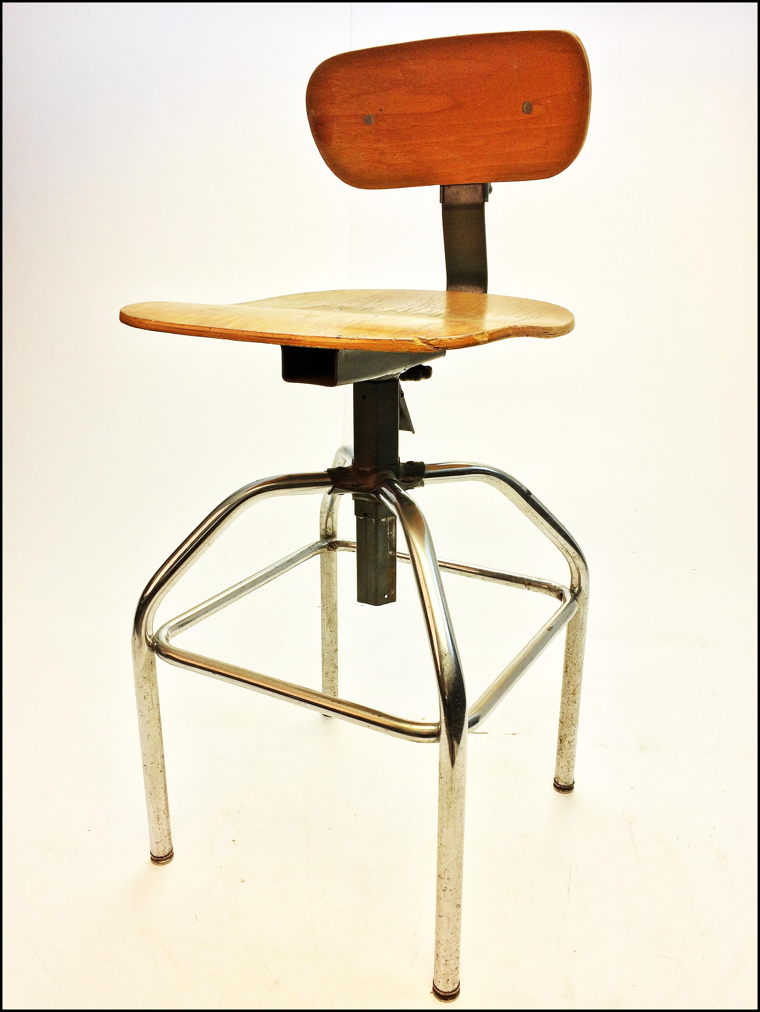 Vintage Industrial Gray Metal Amp Wood Drafting Stool Chairish