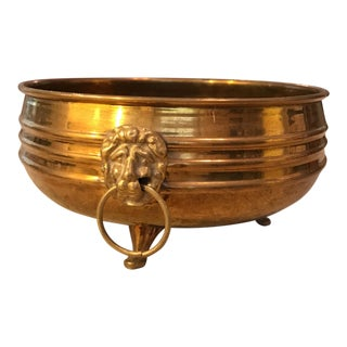Hammered Brass Cachepot Planter