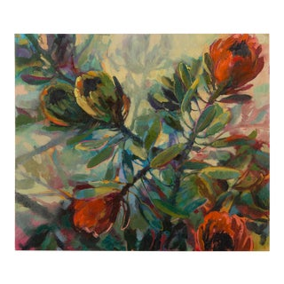 """""""Five Proteas"""", Original Oil on Canvas, Jenny Parsons, South Africa, 2013"""