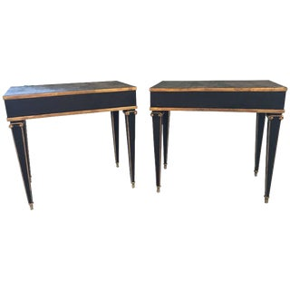 Pair of Maison Jansen Style End Table in Leather Top and Bronze-Mounted Legs