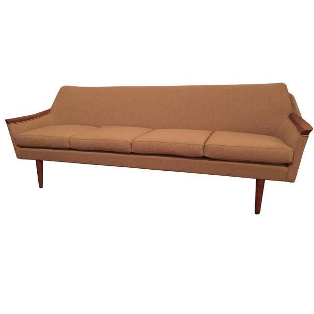 mid century reupholstered sofa chairish