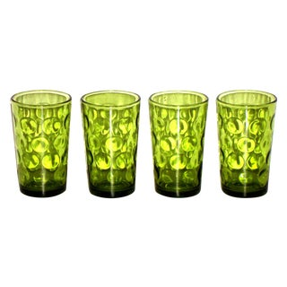 Hollywood Regency Green Double Shot Glasses