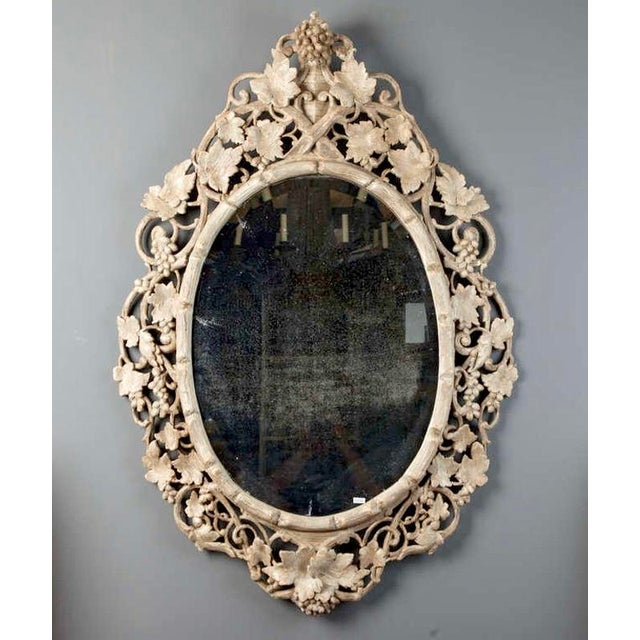Large 1930's French Beveled Oval Mirror With Carved Grape Vines - Image 6 of 7