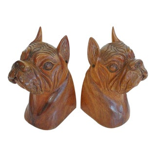 Hand-Carved Wooden Bulldog Bookends
