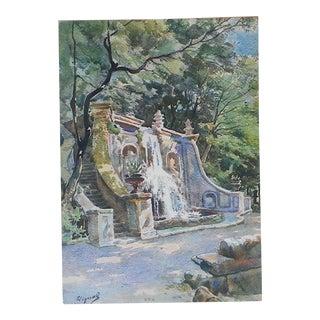 Vintage Lithograph, Villa Aldobrandini in Frascati