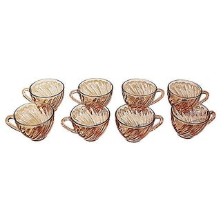 French Swirled Pink Arcoroc Teacups - Set of 8