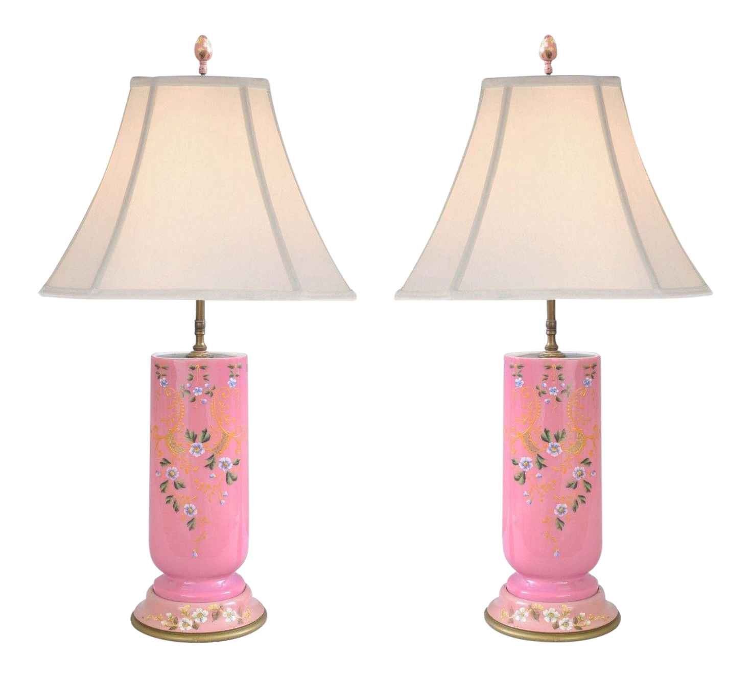 Antique French Pink Porcelain Floral Hand Painted Table Lamps   A Pair