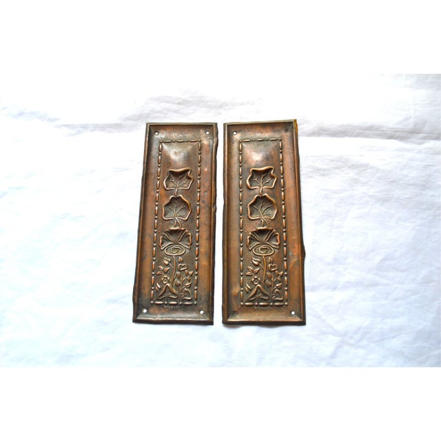 1910 Art Nouveau Copper Lotus Door Push Plates - Image 2 of 9