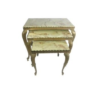 Alabaster & Brass Nesting Tables - Set of 3