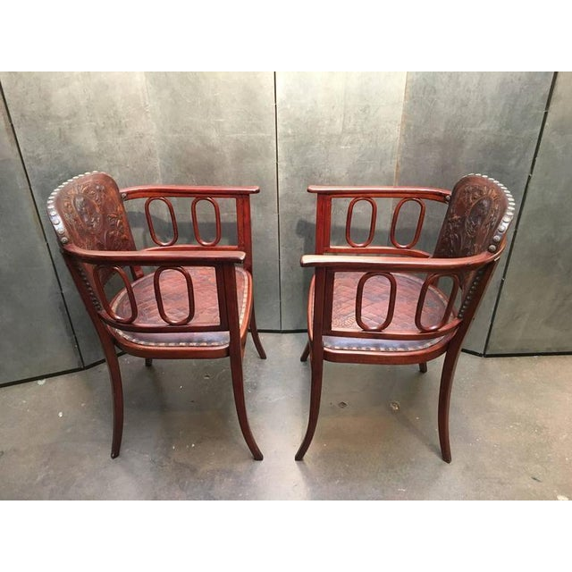 Pair of Josef Hoffman Bent Beechwood and Hand Tooled Leather Armchairs - Image 4 of 10
