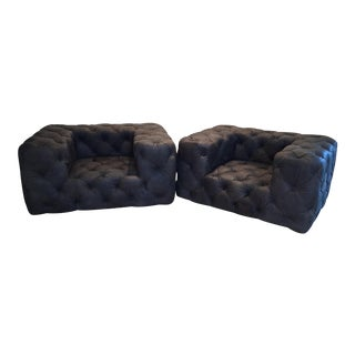 Modern Restoration Hardware Tufted Leather Soho Collection Chairs - A Pair