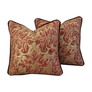 Custom Tailored Fortuny Lucrezia & Mohair Feather/Down Pillows - Pair