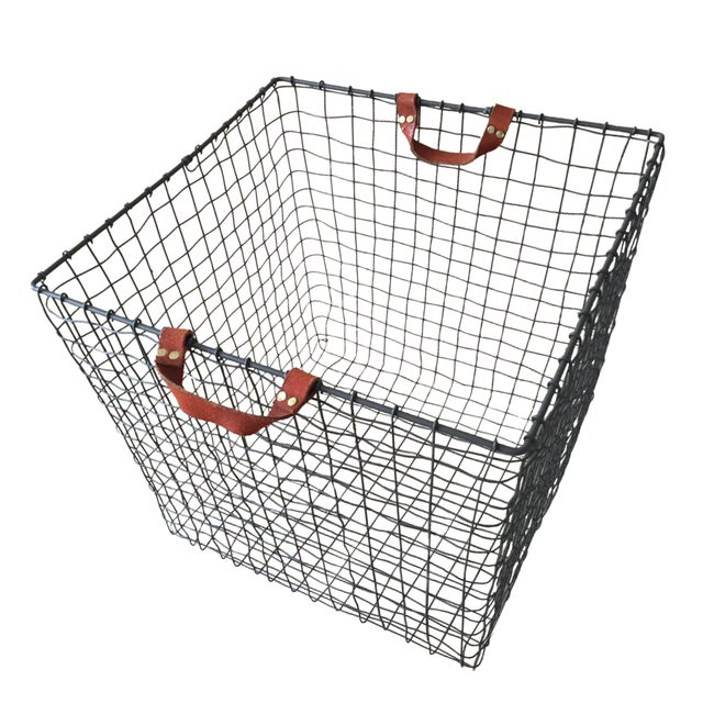 Image of Brooklyn A & G Leather Handle Wire Basket