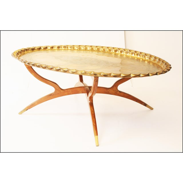 Image of Vintage Moroccan Coffee Table with Brass Charger Top